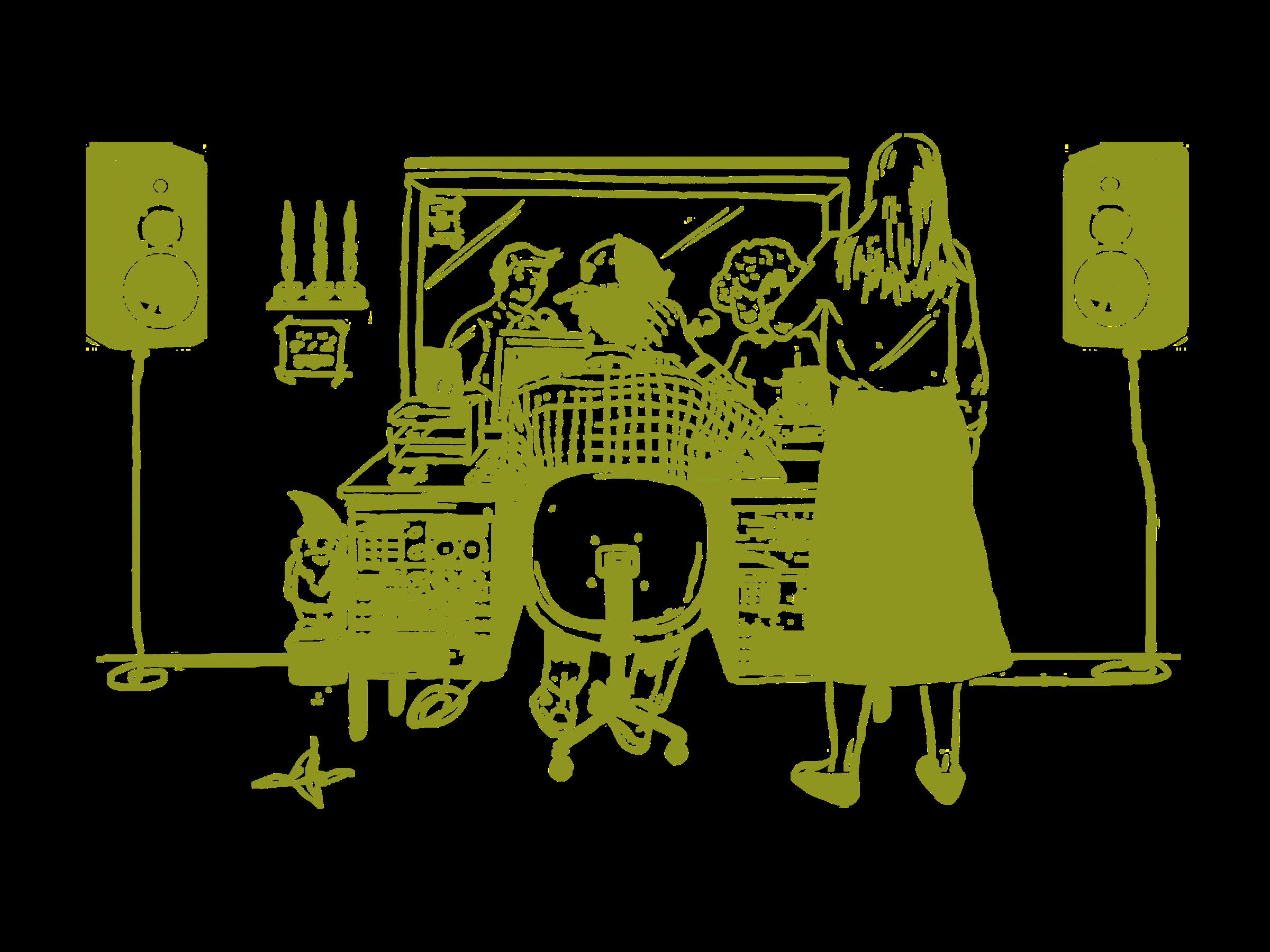 Produkcijski studio Radia Študent (ilustracija: Fejzo Košir)